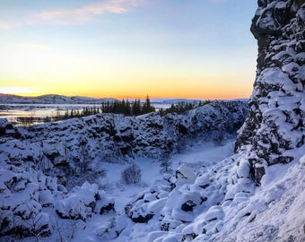 Tectonic Plates- Eurasian and North American with Sunrise in Iceland