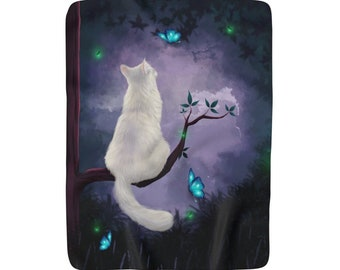 Kitty Dream Cat Lady Soft Sherpa Blanket Kitty Lover Home Decor Bedroom White Cat Butterfly