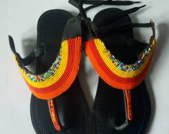 African sandal,masai sandal,leather sandal,kenyan sandal,hand made sandal,gift for her,beaded sandals,gladiators.