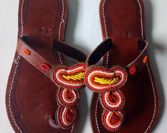African sandal, beaded sandal,masai sandal, leather sandal,gift for her,kenyan sandal,hand made sandal
