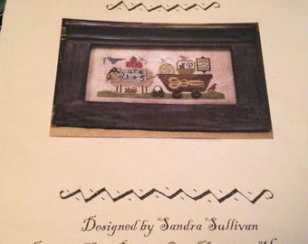 """Cross Stitch Country Spirits Collection """"Delivering Needlewares"""" Sheep pulling cart"""