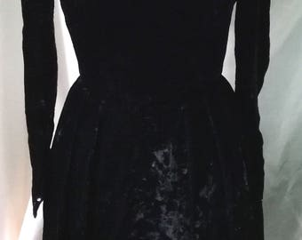 Vintage Handmade Black Velvet Dress UK 8