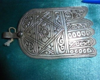 Moroccan Jewelry, antique Tangier area large rare silver hamsa with rose, 3 1/4 inches