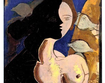 Georges Braque: Woman's head - lithograph - 1942