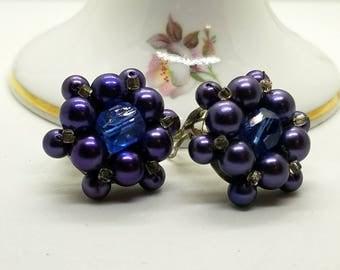 Vintage Japan Faux Purple Pearl Glass Bead Cluster Clip On Earrings Cut Glass Center Bead Silver Tone Mount 50s - 60s