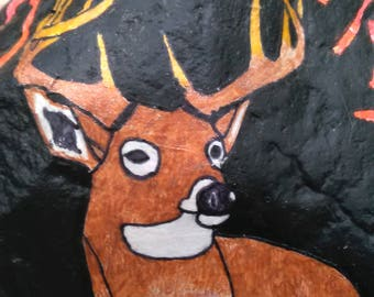 Hand painted rock: Monster buck
