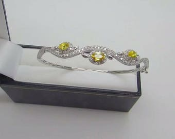 Yellow Sapphire Diamond 18ct White Gold Bangle
