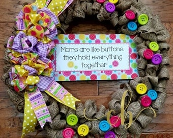 Mother's Day Wreath, Front Door Wreath, Burlap Wreath, Button Wreath, Gift for Mom