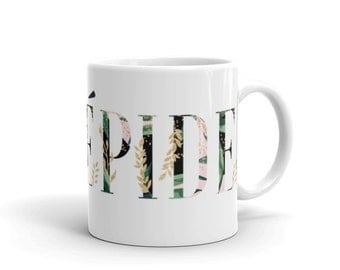 Fearless Coffee Mug / Intrépide / Brave /Bold/ French Quote/ Botanical Design/ Pink and Green Letters/Inspirational Gift