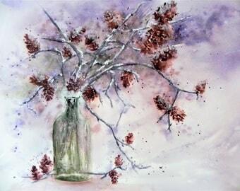 """Original watercolor still life """"Pinecones in the snow"""""""