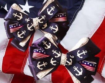 Navy Military Hair Bow