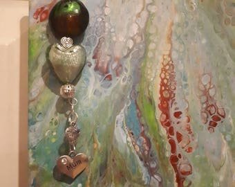 Gorgeous Lucky Green Tile  Acrylic pour painting with hanging Charms and beads