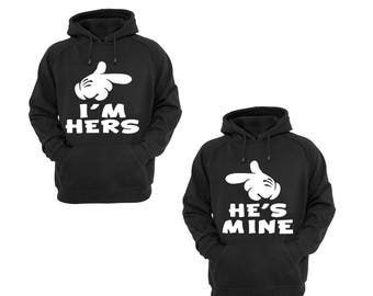 Hoodies for Couple He's Mine Disney Mickey Hand and I'm Hers Minnie Hand Couple Goal Shirts