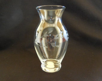 Vintage Princess House/Heritage Pattern/Vase 5 inches tall/Etched Crystal