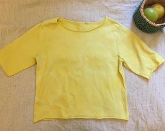 SUN natural dye cutsew 1 tee t-shirt eco friendly vegetable dye fruit dye yoga meditation organic mango yellow tropic