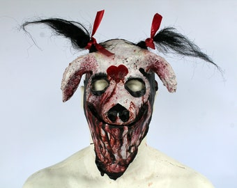 Nikki Butcher Shop Pig Latex half mask with ponytails Bloody White Red Heart