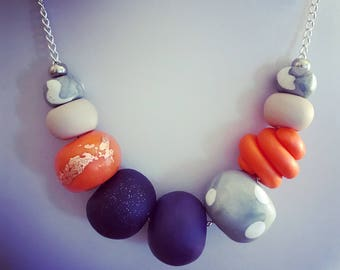 Tangerine and Aubergine polymer necklace