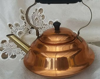 Vintage copper brass and wood kettle Medium size