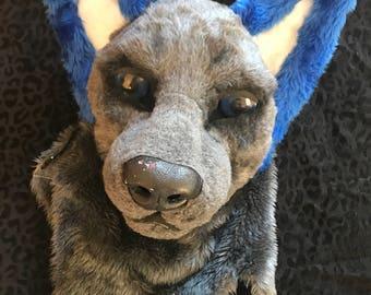 Blue eared dog mask