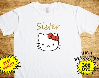 Hello Kitty Sister, Hello Kitty Iron On Transfer, Hello Kitty Printable DIY Shirt Transfer, Digital Files, Instant Download