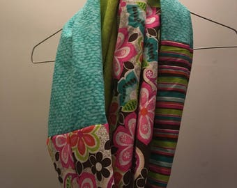 Blue and Green Patchwork Infinity Scarf