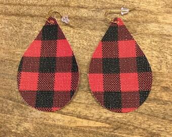 Red Buffalo Plaid Faux Leather Tear Drop Earrings