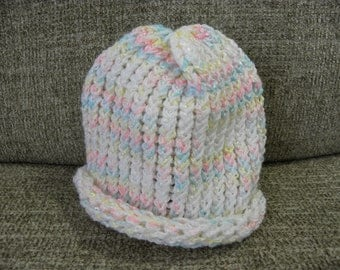 Shimmery White Pink Blue and Yellow Baby's Knit Hat