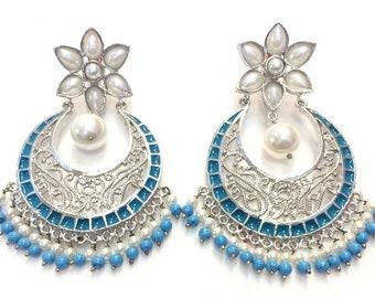 Fancy turquoise, pearl enameled chandbali
