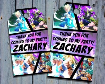 Dragon Ball Z Birthday Thank You Tags, Dragon Balls Fighterz Favor Tag, Goku Printable Digital Labels, Goody Bag Tags, Hang Label Tags