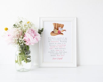 Watercolour Magical Lewis Carroll Alice in Wonderland Mad Hatter Disney Quote Print A4 A5