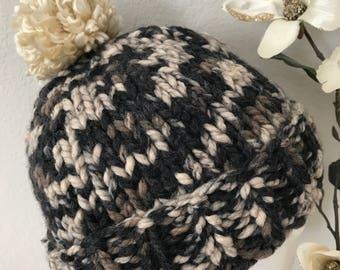 Knitted Pom Pom Women's Winter Hat multi color