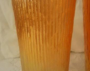 Pair of vintage marigold orange Carnival Glass tumblers