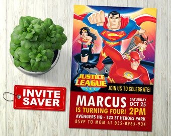 Justice League Invitation, Justice League birthday, Justice League Party, Justice League, Superhero Invitation