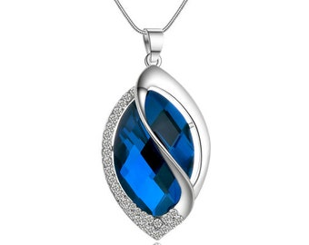 Women Long Pendant Necklace Oval Blue Crystal Necklace Sweater Chain By CoolGemz