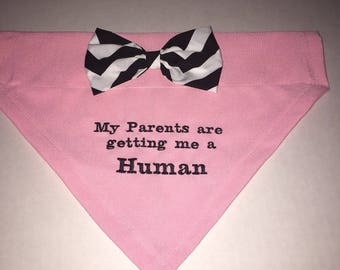 Reveal Gender, Dog Bandana, My Parents are getting me a Human, Bow, Baby Feet, Dog Lovers Gift,  Baby Announcement, Baby Gift, Photo Shot