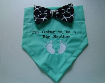 Dog Bandana, Big Brother, Pregnancy Reveal, 'm Going to be a Big Brother,  Bow, Gender Reveal,  Baby Announcement, Baby Gift, Shower Gift