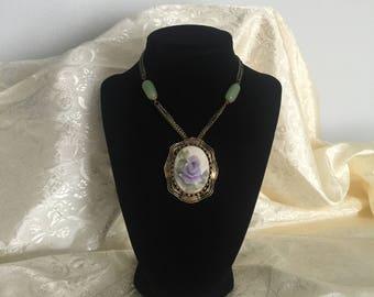 Porcelin Flower Pendant and Jade Necklace