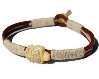 Leather, Hemp and Bone Turtle bead Bracelet or Anklet