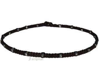 Licorice flat hemp necklace with small silver glass beads throughout