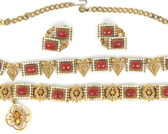 Pretty 1960's Demi Parure With Faux Pearls and Carnelian