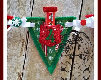 BaNNeR ADVENT PoCKeT Christmas BaNNER with 1-25 ~ In the Hoop ~ Downloadable DiGiTaL Machine Embroidery Design by Carrie