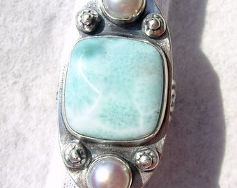 Larimar by Joe Jelks lapidary, Chinese pink tint button pearls etched patina'd sterling silver ring wide pattern band Chelle' Rawlsky 10.75+