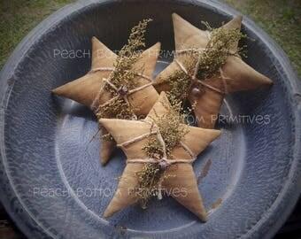 Primitive Tan Stripe Ticking Stars~Bowl Fillers Home Decor