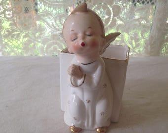 Kissing Angel Boy Vase Gilded Porcelain Vintage Home Decor Toothbrush Holder 1960s