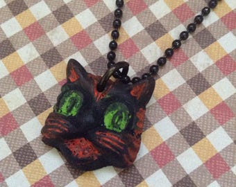 """CAT Necklace - Primitive Vintage Style Long Chain Necklace  - Stainless Steel 30"""" Chain - Hand Cast Resin Jewelry - Halloween Day Of The Dea"""