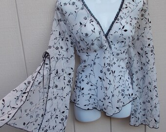 Vintage 90s Anchor Blue Sheer White w/ Black Floral Bias Peasant Blouse top / Ladies sz Med - Lge