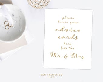 Leave your Advice Cards Sign for the Mr. and Mrs. - Gold - Instant Download - 8x10 - PDF File
