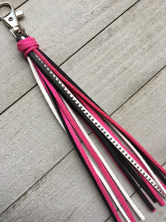 "Handbag Tassel Charm - 6"" Hot Pink, White & Black Tassel - Purse Tassel, Zipper Pull, Faux Leather Tassel, Gift for Her (KC508)"