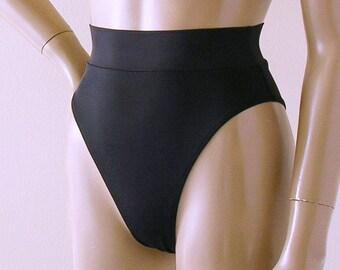 80s 90s High Leg Brazilian Banded Bikini Bottom in Black