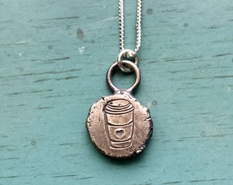 Stamped Recycled Sterling Silver Coffee Cup Necklace Be a Gilmore Girl